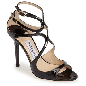 Jimmy Choo 'Lang' Black Patent Strappy Sandals